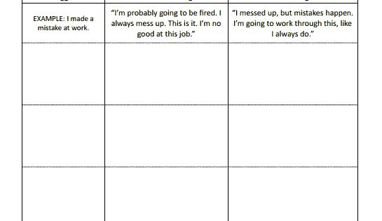 CBT Worksheets Automatic Thoughts Preview Good for negative self – Thought Stopping Worksheet