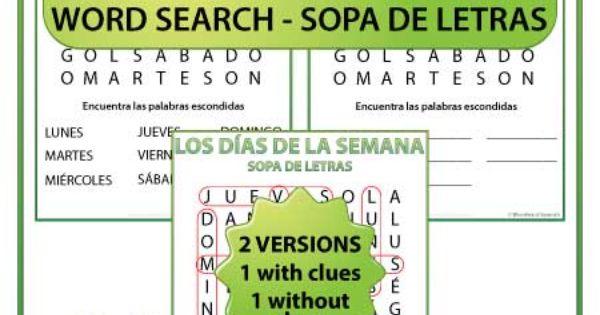 days of the week spanish word search sopa de letras de los d as de la semana spanish. Black Bedroom Furniture Sets. Home Design Ideas