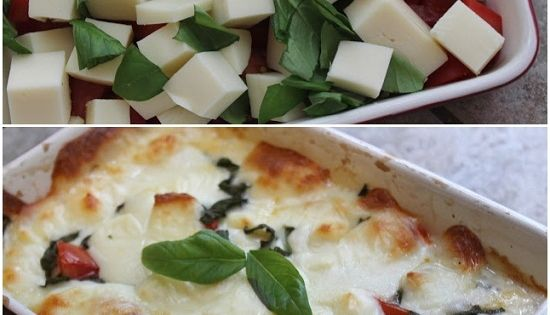 ~Hot Caprese Dip~ Ingredients: 10 ounces fresh mozzarella 3 small roma tomatoes,