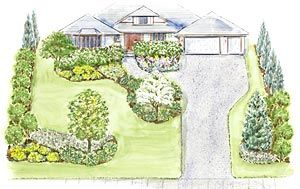 A Large Welcoming Front Yard Landscape Plan Trees For Front
