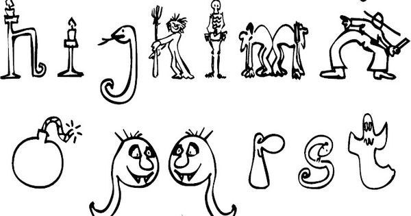 Halloween Alphabet Coloring Pages : Halloween alphabet colorpages coloring coloringpages