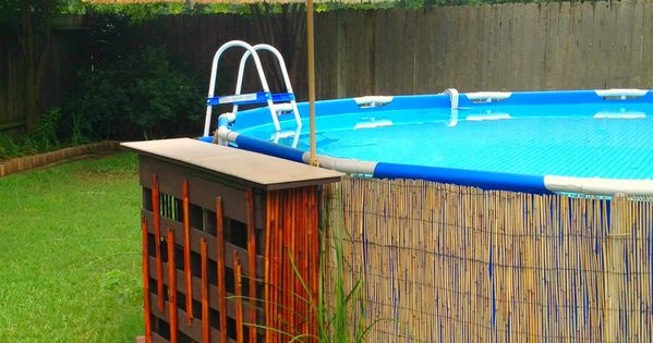 Pallet bar above ground pool decor above ground pool - How to fix a hole in a swimming pool ...