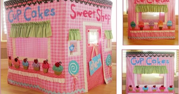 Card table playhouse. A cute tutorial for a post office and tree