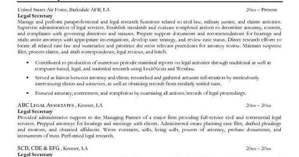 Legal Secretary Resume Sample