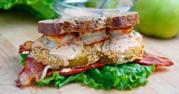 Green Tomato BLT with Shrimp Remoulade | Recipe | Fried Green Tomatoes ...