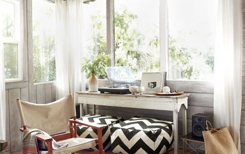 black/white chevron poufs (from West Elm) | Small Cabin Decorating Ideas -