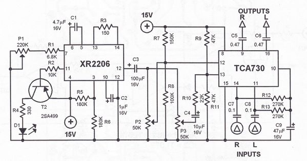 tremolo effect circuit schematic