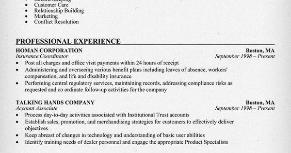 insurance coordinator sle resumecompanion