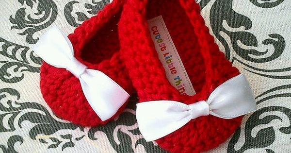 Red Crochet Baby Booties , White Bow Crochet Booties, Baby Girl Booties,