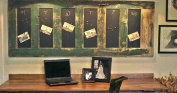 Salvaged door with chalkboard paint