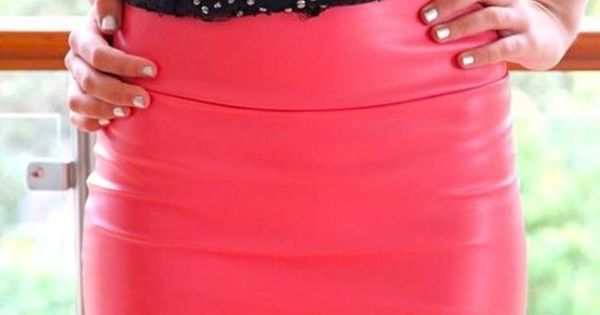 Hot pink leather skirt!
