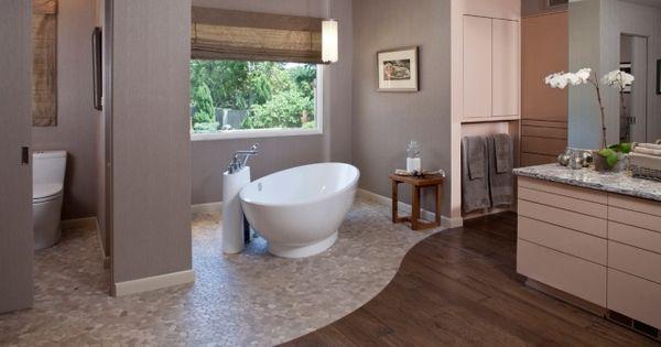 Badezimmer gestaltungsideen  badezimmer gestaltungsideen-fußboden aus naturholz und stein ...