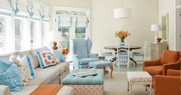 Blue and orange living room decoration color schemes - Blue and orange color scheme for living room ...