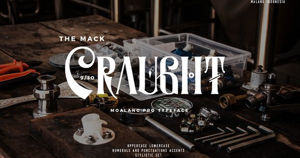 Moalang is vintage display font with unique glyph combination to create fresh look on your project