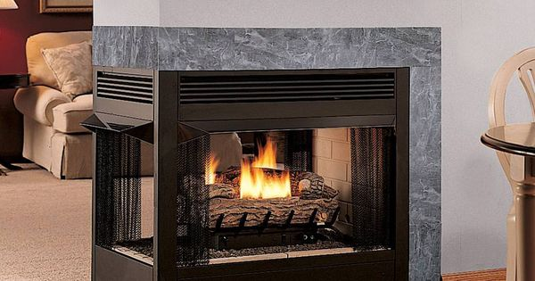 Multifunction Double Sided Ventless Gas Fireplace Smell Insert Is Dividing Decorative Dining