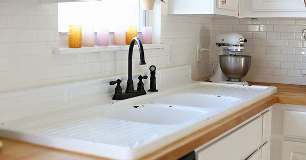 Extended Cast Iron Sink With Wood Countertops Interiors