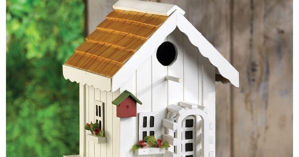 Best White Cottage Birdhouse Casitas Para Pajaros 640 x 480