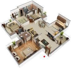 Image Result For 4 Bedroom House Plans 3d Model House Plan Indian House Plans House Plans