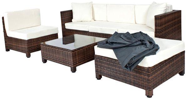 details zu poly rattan aluminium sofa sitzgruppe gartenmÖbel, Garten und Bauen