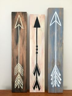 Hand Painted Arrows On Old Scrap Wood Wood Pallet Signs
