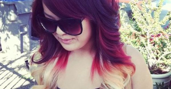 Red to blonde ombre dip dyed hair idea