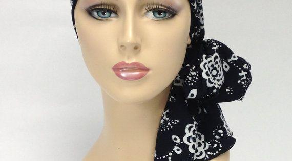 turban chemo hat tribal wrap alopecia scarf black