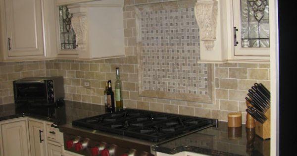 Travertine Subway Tile Backsplash With Basket Weave Above