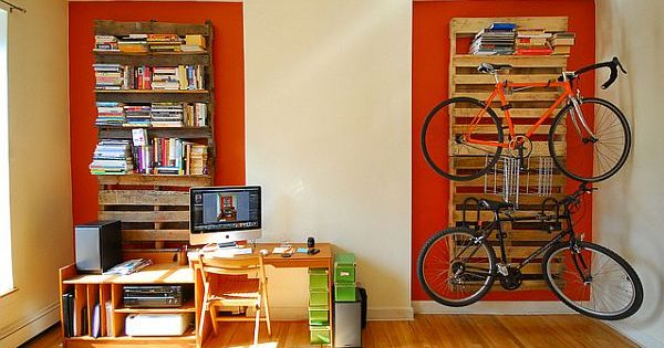 wooden pallet bookshelves & bikerack