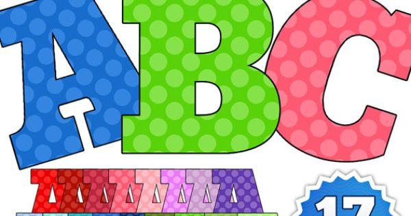 mega polka dots alphabet - digital clip art personal and commercial use