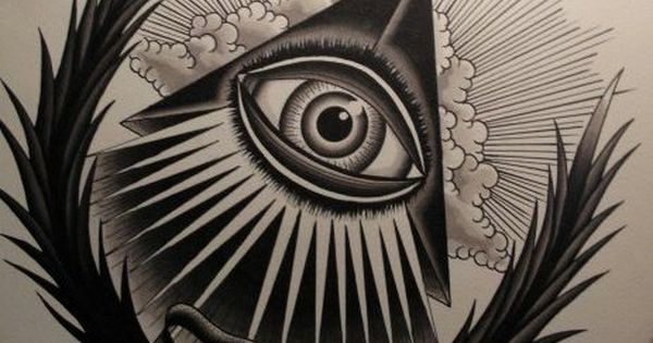 illuminati Tattoo Flash | Beautiful Black Ink Illuminati Eye Tattoo Design