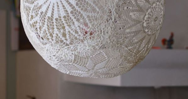 DIY Lace lamp, Doiliy Lamp.Diy Craft Ideas