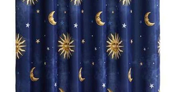 19 99 Celestial Sun Moon And Stars Fabric Shower Curtain
