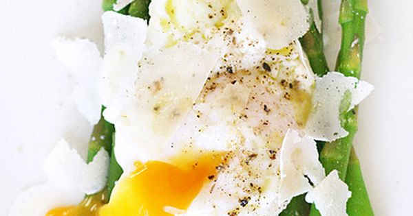 Steamed asparagus topped with a little basil olive oil, creamy poached egg