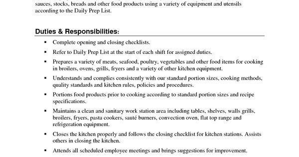 prep cook resume free templates example cooks examples Home - prep cook