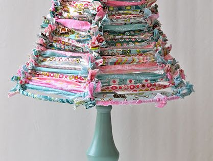 scrap fabric lampshade -would be so cute in a little girls room