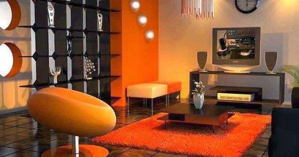 Sala color naranja sal n pinterest colores para sala - Combinacion de colores para salones ...