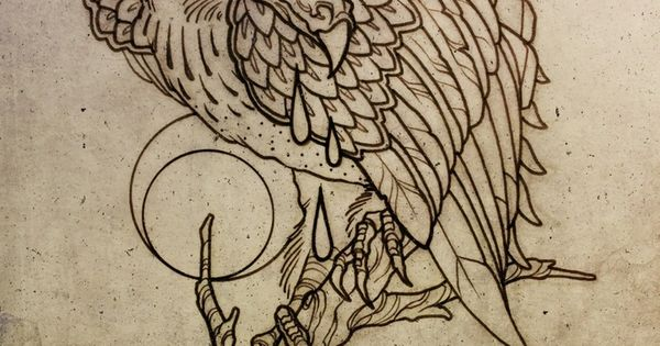 Wonderful grey ink vulture tattoo design vultures for Vulture tattoo meaning
