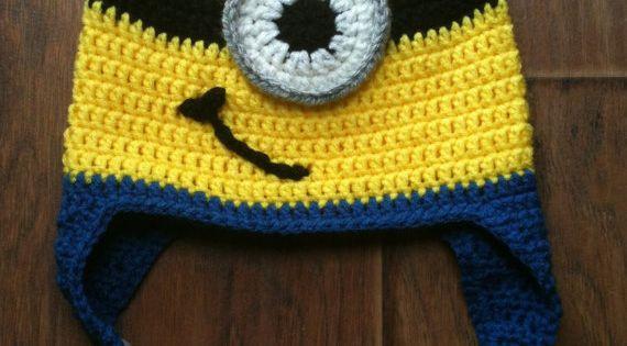 Grumpy Cat Crochet Hat Pattern Free : Crocheted Minion Earflap Hat Crochet minions, Crochet ...