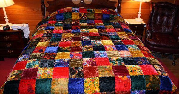 1970 S Hippie Chic Velvet Patchwork Quilt Bedspread By