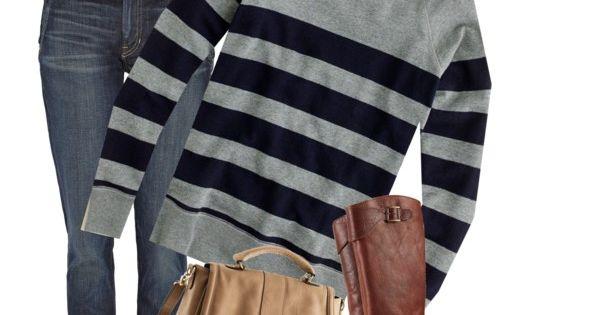 jcrew stripes, brown boots