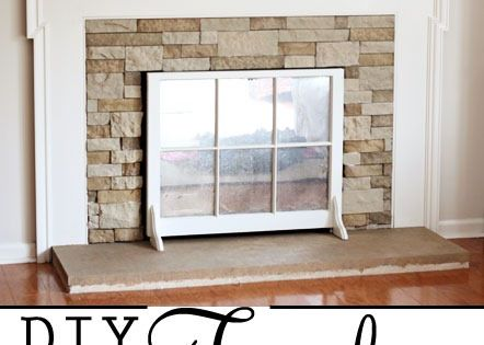 would love a faux natural stone fireplace in living room with big
