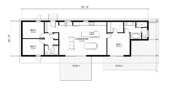 Energy efficient green home floor plans for 3br 2ba house plans