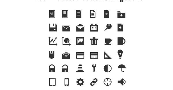 180 Vector Pictograms For Wireframing