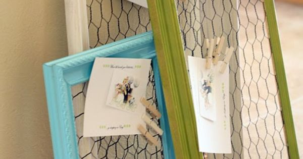 Chicken wire memo boards in painted frames with clothes pins - cute