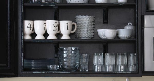 black and white open shelving.