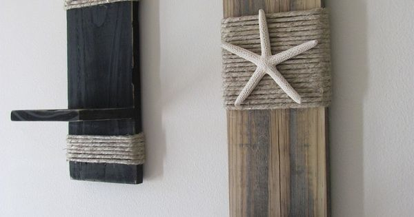 Reclaimed Upcycled Wood Plank Starfish Sconces Wall Decor Black Beach Cottage Home Decor