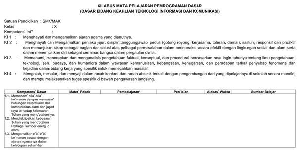 Silabus Smk Pemograman Dasar Kelas X Bahasa Kurikulum Bahasa Indonesia