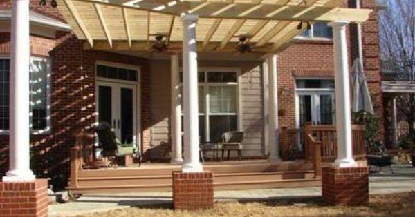 Attached Pergola With Round Columns Amp Brick Pergolas