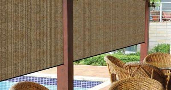 Coolaroo Walnut Cordless Exterior Roller Shade 72 In W
