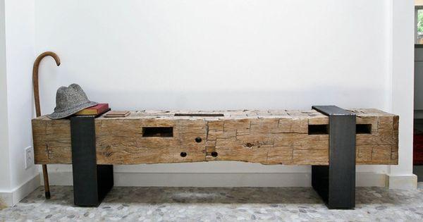 Handmade Bench From Barn Beam Diy By Homeowner The